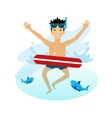 Boy Swimming with Inflatable Circle vector image