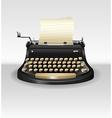 Black retro typwriter with paper vector image