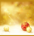 Golden Christmas design baubles light vector image