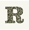 Elegant capital letter R in the style Baroque vector image