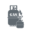 Camping stove with gas bottle icon vector image