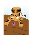 Baby Tiger and Butterfly vector image