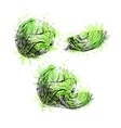 Hand drawn set of cabbage with green watercolor vector image