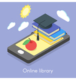 isometric concept for online library vector image