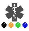 life star medical emblem flat icon vector image