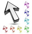 Set of multicolored 3d arrow cursor pointer vector image