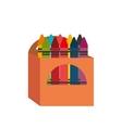 cartoon crayons box design vector image