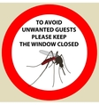 Sticker with Warning sign insect icon mosquito vector image