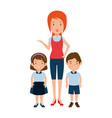 beautiful teacher female with students avatars vector image