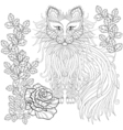 Fluffy Cat in roses zentangle style Freehand vector image