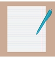 Turquoise pen on notebook sheet in line vector image