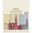 Colorado Springs skyline poster vector image
