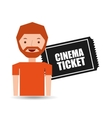 cartoon man icon ticket cinema graphic vector image
