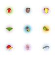 Baseball icons set pop-art style vector image