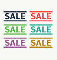 sale rubber stamp set in six different colors vector image