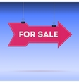 Pointer large arrow with the text for sale hanging vector image