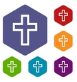 Protestant Cross rhombus icons vector image