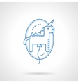 Blue flat line unicorn balloon icon vector image