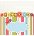 Frame with sewing buttons and bird vector image
