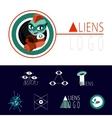 many logos UFO aliens vector image