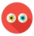 Spooky Eyeballs Circle Icon vector image