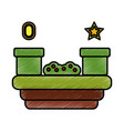 video game scene with coin star tube bush vector image