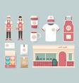 restaurant cafe set shop front design flyer menu vector image vector image