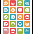 icon set 20 mans faces color square vector image vector image