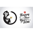 Chinese new year 2016 black white cute ingot vector image