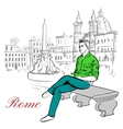 man sitting on bench vector image vector image