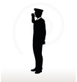 army general silhouette with hand gesture saluting vector image