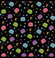 cute seamless macaroon space pattern vector image