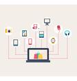E-commerce icons surrounding a laptop vector image