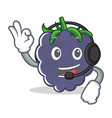 with headphone blackberry mascot cartoon style vector image