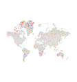 similar silhouette of world map big data pattern vector image