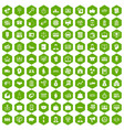 100 business group icons hexagon green vector image