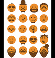 icon set 20 mans faces orange vector image vector image