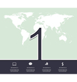 Number 1 Design infographic with world map vector image