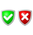 accept and deny security shiel vector image
