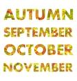 Autumn Months Names vector image