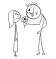 cartoon of surprised young woman on date with vector image
