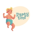 Cute little baby boy dancing happily party vector image