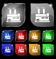 factory icon sign Set of ten colorful buttons with vector image