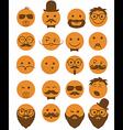 icon set 20 mans faces orange vector image