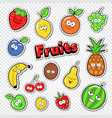 cute fruits stickers badges and patches vector image