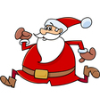 running santa claus cartoon vector image