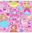 Seamless pattern with three cute little princesses vector image
