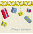 Colorful gift boxes hanging from holly garland vector image