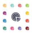 pizza flat icons set vector image