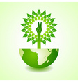 Victory hand make tree on earth vector image